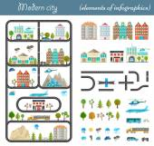 Elements of the modern city in style material design