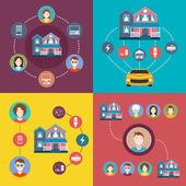 Set of vector elements infographics smart home