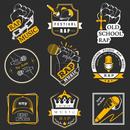Set logos and Badges Rap Music