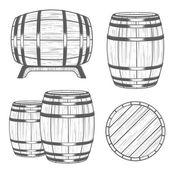 Vector set Barrels in Vintage Style