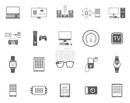 Illustration for Icons set of smart devices, modern wearable electronics, audio and video gadgets, communication systems and home control and the vehicle - stock vector. - Royalty Free Image