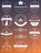 Vector collection of photography and videography logo templates Photocam wedding and aerial footage logotypes Photography vintage badges and icons Modern mass media icons Photo labels