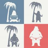Vector Illustration Bear with sign Welcome to California palm and lifebuoy on a white background Bear Symbol for T-shirts print labels badges stickers and logos