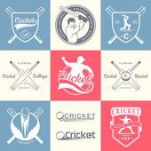 Set of Vector Logos and Badges Cricket