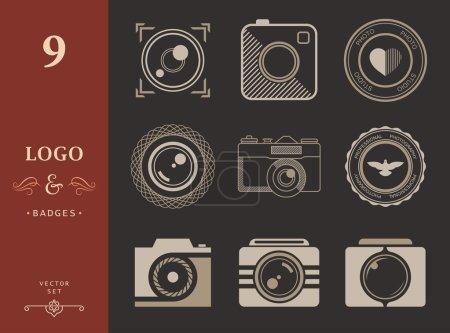 Illustration pour Collection vectorielle de modèles de logo de photographie. Photographie vintage et moderne badges et étiquettes photo. Logotypes Photocam . - image libre de droit