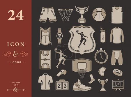 Vector set of icons basketball