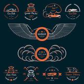 Set of vintage badges car club and garage