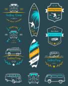 Vektorové odznaky a loga surfování