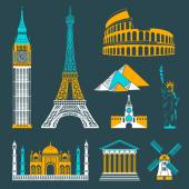 Set of icons on the topic of travel and recreation Famous international landmarks