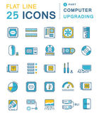 Set vector line icons in flat design upgrading computer and hardware overclocking cooling test cpu and gpu with elements for mobile concepts and web apps Collection modern infographic logo and pictogram