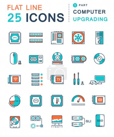 Illustration for Set vector line icons in flat design upgrading computer and hardware, overclocking, cooling, test cpu and gpu with elements for mobile concepts and web apps. Collection modern infographic logo and pictogram - Royalty Free Image