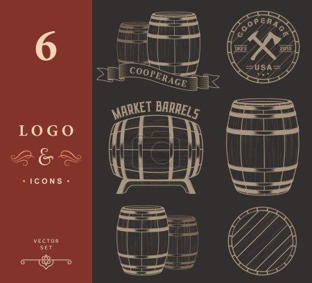 Vector set and logos cooperage workshops