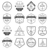 Set of yacht and catamaran logos and badges Collection sign and emblems pro sailing catamaran club and shop - Stock Vector