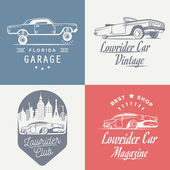 Set vintage lowrider logo badge sign emblems sticers and elements design Collection black and white classic and retro old car icon - Stock Vector