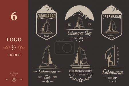 Illustration for Set of yacht and catamaran logos and badges. Collection sign and emblems pro sailing, catamaran club and shop - Stock Vector - Royalty Free Image
