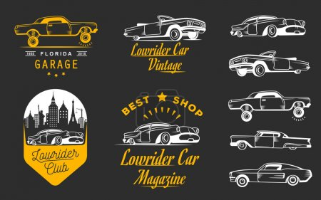 Illustration for Set vintage lowrider logo, badge, sign, emblems, sticers and elements design. Collection black and white classic and retro old car icon - Stock Vector - Royalty Free Image