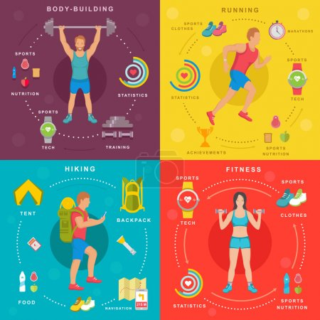 Sport and Fitness Infographic Banners