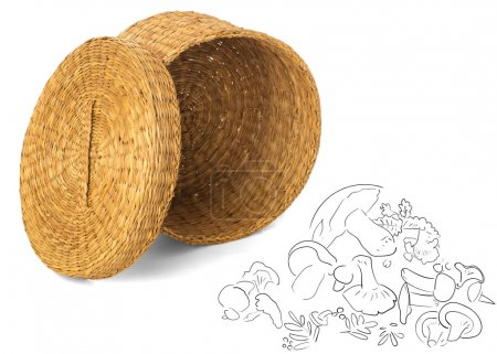 Open wicker basket for mushrooms and vegetables with wicker lid,