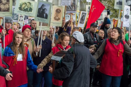 Russia, St. Petersburg - MAY 9: parade of immortal regiment, the memory of soldiers in Great Patriotic War ( World War II ). 2014