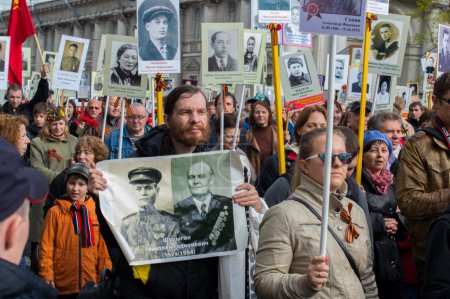 Procession of the immortal Regiment in St. Petersburg. Russia-Ma
