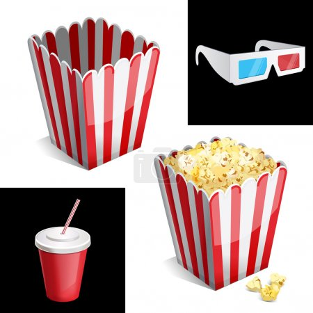 Popcorn , cola and 3D glasses