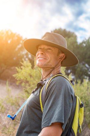 Man hiking trails