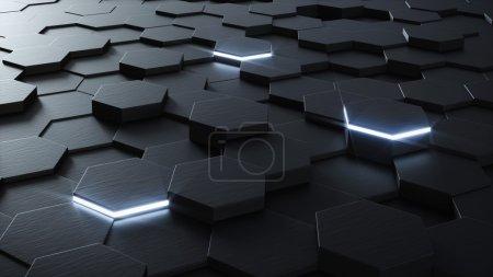 Technical 3D hexagonal background design