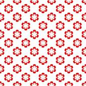 Background composed of red flowers in a row and alternately under each other on a white background