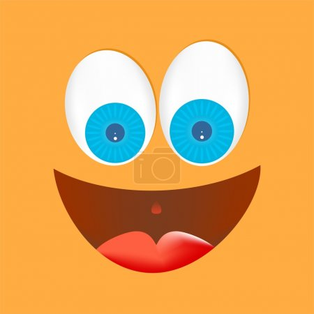 Illustration for Orange face with big eyes, white with blue lenses with a big laugh with a red tongue with mouth open with gleaming eyes on an orange background - Royalty Free Image