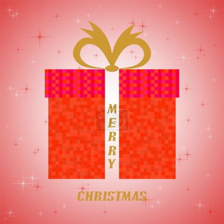 Red Christmas greeting with red gift red squares with gold ribbon and golden words Merry Christmas on red glittering background with red and white stars