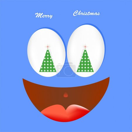 Illustration for Blue Christmas card with a laughing face with an open mouth with tongue with white eyes with green Christmas tree with flashing red star with shadow on a blue background - Royalty Free Image