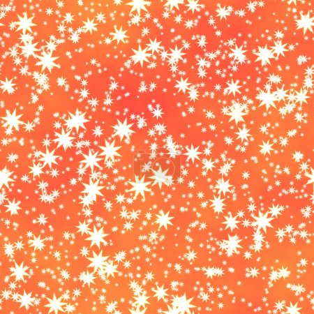 white stars irregularly placed  on orange backgroud - seamless pattern texture