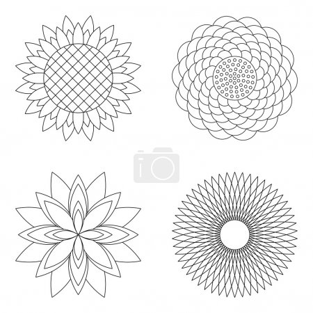 Illustration for Set of four vector  floral simple mandalas - rose, sunflower, lotus and aster - black and white adult coloring book pages - Royalty Free Image
