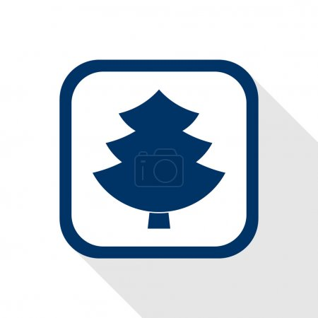 Square blue icon tree with long shadow