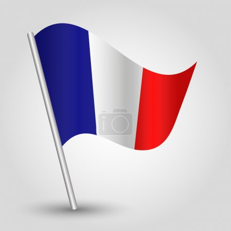 Vector 3d waving french flag on pole