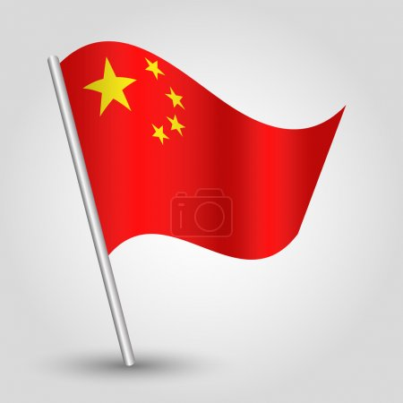 Vector 3d waving chinese flag on pole