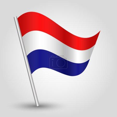 Vector 3d waving dutch flag on pole