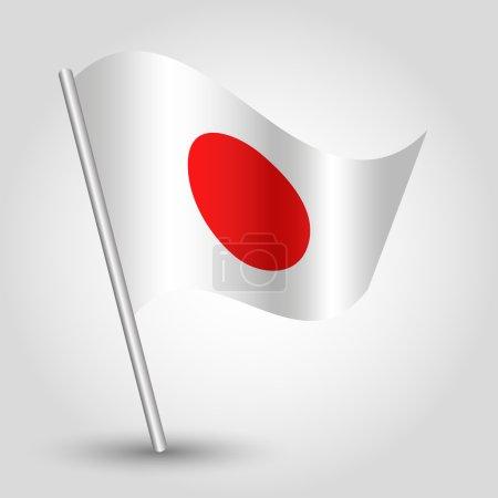 Vector 3d waving japanese flag on pole