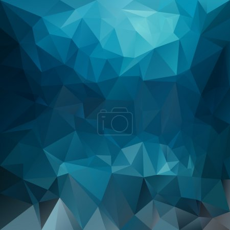 Vector polygonal background pattern - triangular design in blue colors - turquoise sea deep