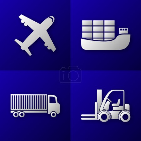 Set of export import icons - plane, cargo ship, truck and forklift - transport