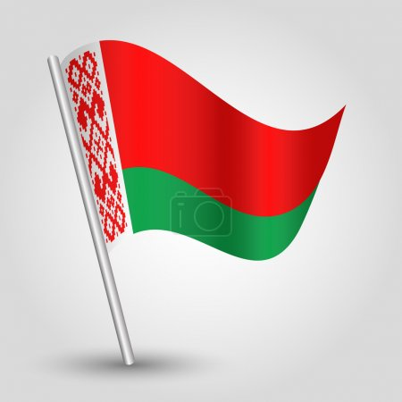 Vector waving simple triangle byelorussian  flag on pole