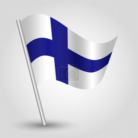Vector 3d waving simple triangle finnish  flag on pole