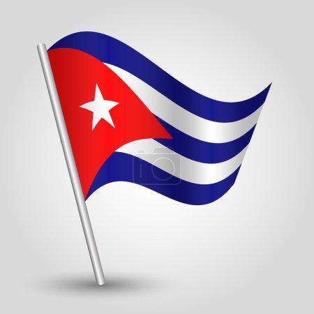Vector waving simple triangle cuban flag on pole