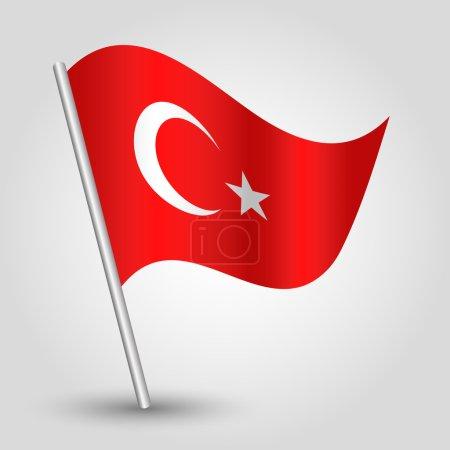 Vector waving simple triangle turkish flag on pole
