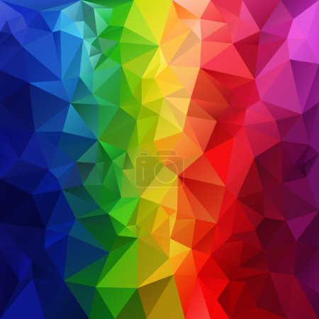 Illustration for Vector polygonal background with irregular tessellations pattern - triangular design in full spectrum rainbow colors - vertical striped - Royalty Free Image