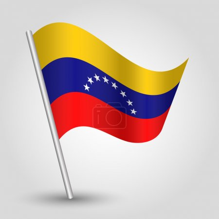 vector waving simple triangle venezuelan flag on slanted pole - icon of venezuela with metal stick
