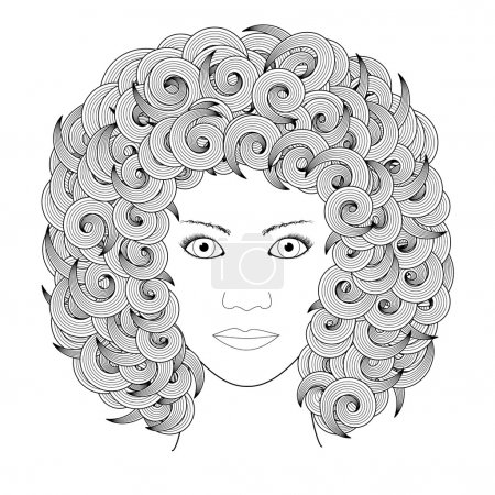 vector adult coloring book page portrait of woman with curly hair black and white