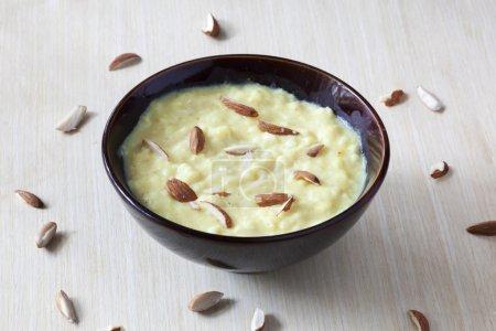 Basundi is a rich, creamy, thickened milk, flavore...
