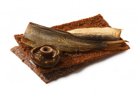 Bread crisp with smoked sprats, soft cheese and mushroom
