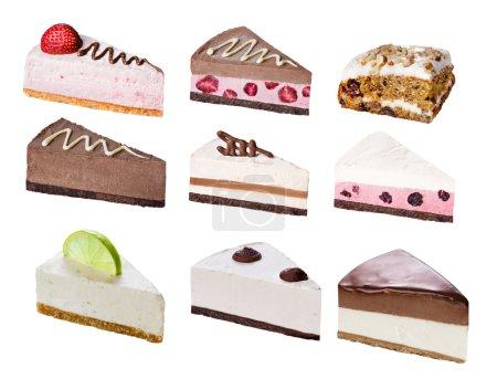 Set of sliced desserts